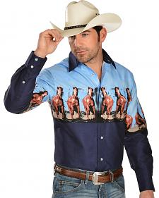 Gibson Blue Horse Pattern Long Sleeve Western Shirt - Big and Tall