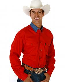 Roper Men's Red Twill with Denim Collar Long Sleeve Western Shirt