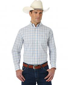 George Strait Collection Blue, Khaki, and White Plaid Shirt - Big and Tall