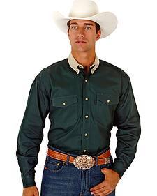 Roper Contrasting Khaki Collar Twill Western Shirt - Big and Tall