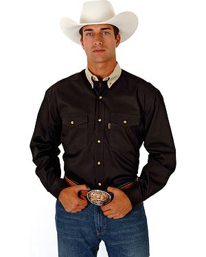Roper Contrasting Khaki Collar Twill Western Shirt - Big and Tall