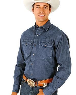 Roper Denim Blue Twill Western Shirt - Big and Tall