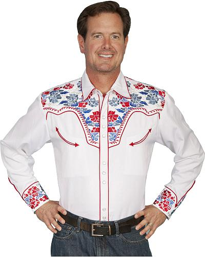 Scully Multi-Colored Floral Embroidered Shirt Big and Tall Western & Country P-634CX-WHT