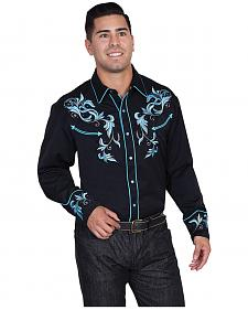 Scully Turquoise Embroidered and Studded Shirt - Big and Tall