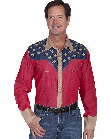 Scully Patriotic Pick Stitched Western Shirt - Big & Tall