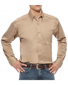 Ariat Khaki Twill Cowboy Shirt - Big and Tall