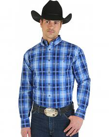Wrangler George Strait Collection Blue and Light Blue Plaid Shirt - Big and Tall