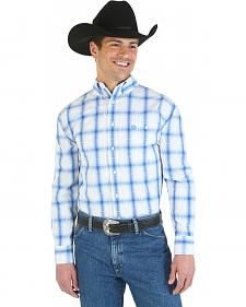 Wrangler George Strait Collection Blue and White Poplin Western Shirt - Big and
