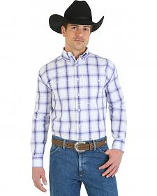 Wrangler George Strait Collection Purple and White Plaid Shirt - Big and Tall