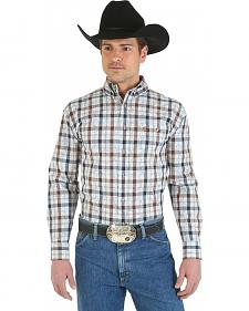 Wrangler George Strait Collection Blue and Plaid Overprint Shirt - Big and Tall