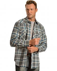 Wrangler Men's Gray & Blue Plaid Flannel Shirt - Big & Tall