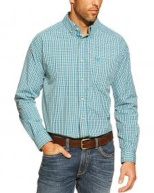 Ariat Anthony Blue Plaid Long Sleeve Shirt - Big and Tall