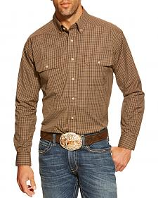 Ariat Asher Brown Plaid Double Pocket Shirt - Big and Tall
