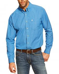Ariat Craig Blue Small Plaid Long Sleeve Shirt - Big and Tall
