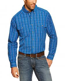 Ariat Connor Blue Plaid Double Pocket Shirt - Big and Tall