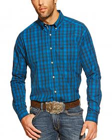 Ariat Campbell Blue Plaid Long Sleeve Shirt - Big and Tall