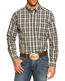 Ariat Cordell Black and Grey Plaid Long Sleeve Shirt - Big and Tall