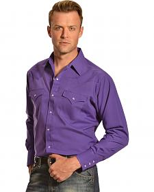 Ely Cattleman Men's Purple Classic Western Shirt