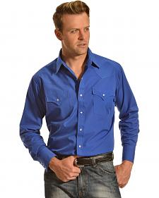 Ely Cattleman Men's Royal Blue Classic Western Shirt - Tall
