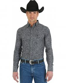 Wrangler George Strait Troubadour Grey Paisley Western Shirt - Big and Tall