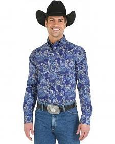 Wrangler George Strait Blue Paisley Western Shirt - Big and Tall