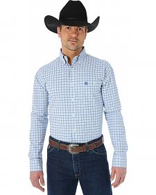 Wrangler George Strait Blue Grey Plaid Western Shirt - Big and Tall