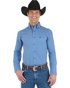 Wrangler George Strait Topaz Blue Print Poplin Western Shirt - Big and Tall