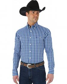 Wrangler George Strait Two Pocket Blue and White Plaid Shirt - Big and Tall