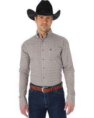 Wrangler George Strait Chestnut and Red Print Western Shirt - Big and Tall