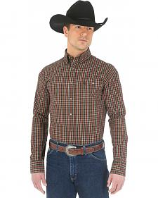 Wrangler George Strait Chestnut Plaid Western Shirt - Big and Tall
