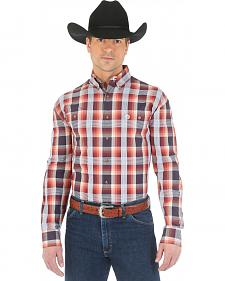 Wrangler George Strait Two Pocket Chestnut Plaid Western Shirt - Big and Tall