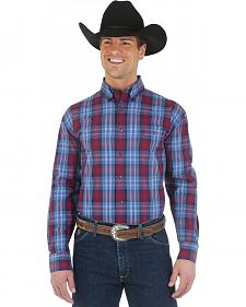 Wrangler George Strait Navy and Purple Plaid Western Shirt - Big and Tall