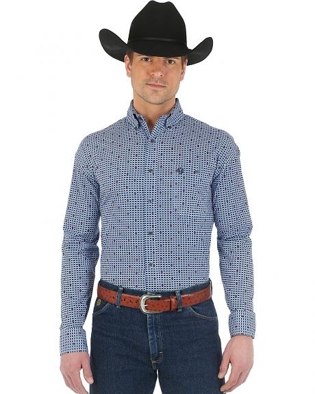 Wrangler George Strait Navy and Light Blue Plaid Western Shirt - Big and Tall