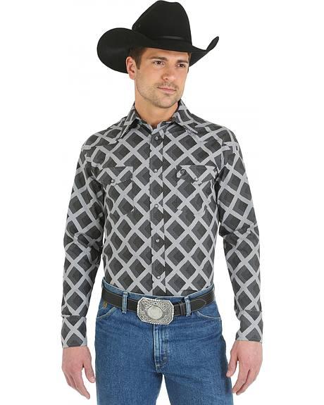 Wrangler George Strait Snap Pocket Grey Diamond Print Western Shirt - Big and Tall