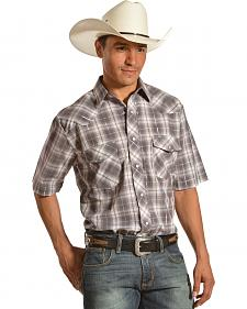 Gibson Trading Co. Men's Gray Plaid Lurex Short Sleeve Western Shirt - Tall