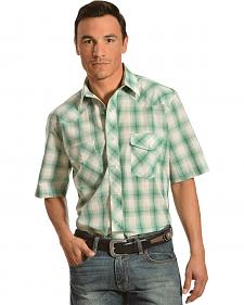 Gibson Trading Co. Men's Green Plaid Dobby Short Sleeve Western Shirt - Tall