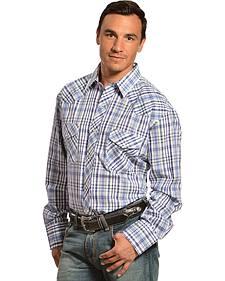 Gibson Trading Co. Men's Blue Plaid Lurex Western Shirt - Tall