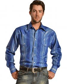 Gibson Trading Co. Men's Blue & Silver Lurex Stripe Western Shirt - Big & Tall