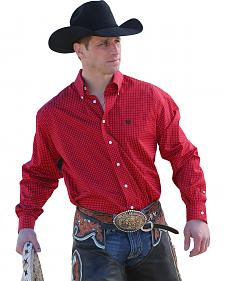 Cinch Men's Red with White Dot Button Long Sleeve Shirt - 3XL