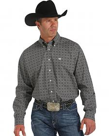 Cinch Men's Gray Print Button Long Sleeve Shirt - XXXL