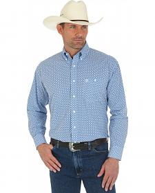 Wrangler Men's George Strait Blue and White Print Shirt - Tall