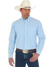 Wrangler Men's George Strait Blue Stripe Shirt - Tall