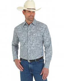 Wrangler George Strait Grey Paisley Snap Western Shirt - Tall Sizes