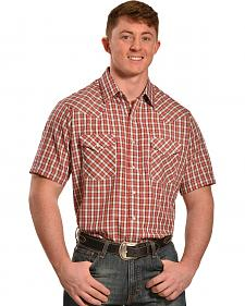 Ely Cattleman Peach Dobby Check Short Sleeve Western Shirt -  Tall Sizes