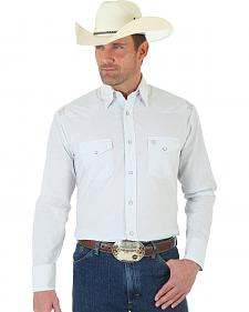 Wrangler George Strait Troubadour Grey and White Jacquard Shirt - Tall