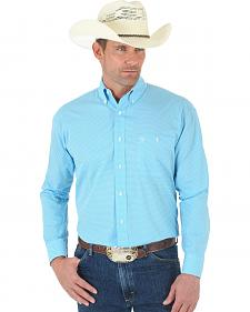 Wrangler George Strait Print Turquoise Shirt - Tall
