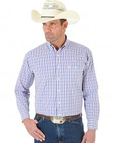 Wrangler George Strait One Pocket Ombre White, Rose and Blue Plaid Twill Shirt - Tall
