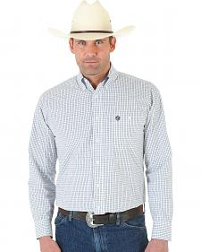 Wrangler George Strait One Pocket White and Black Plaid Oxford Shirt - Tall
