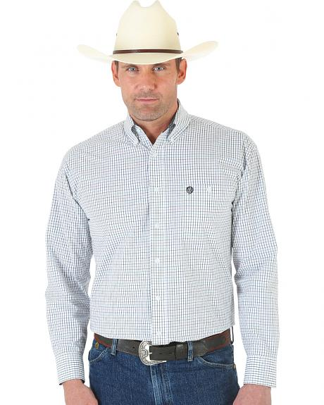 Wrangler George Strait White and Black Plaid Oxford Shirt - Tall