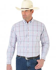 Wrangler George Strait White and Wine Plaid Poplin Shirt - Tall